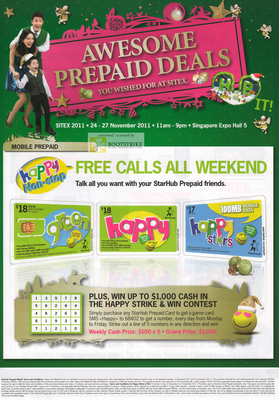 SITEX 2011 price list image brochure of Starhub Maxmobile Prepaid Free Calls All Weekend, Green, Happy, Happy Stars