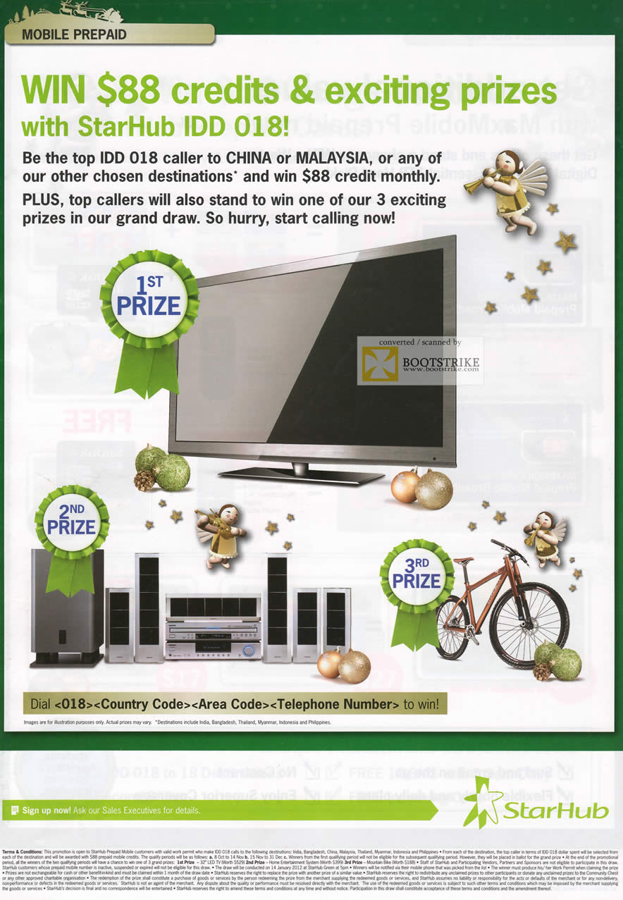 SITEX 2011 price list image brochure of Starhub Maxmobile Prepaid IDD 018 Monthly Draw