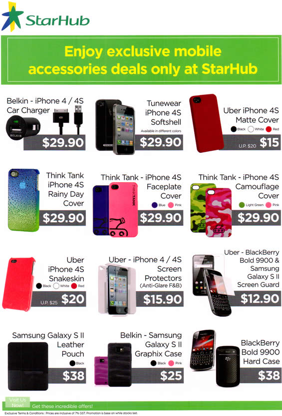 SITEX 2011 price list image brochure of Starhub Mobile Accessories Belkin IPhone 4 Charger, Tunewear Softshell, Uber IPhone 4S, Think Tank, Uber, Pouch, BlackBerry Bold 9900
