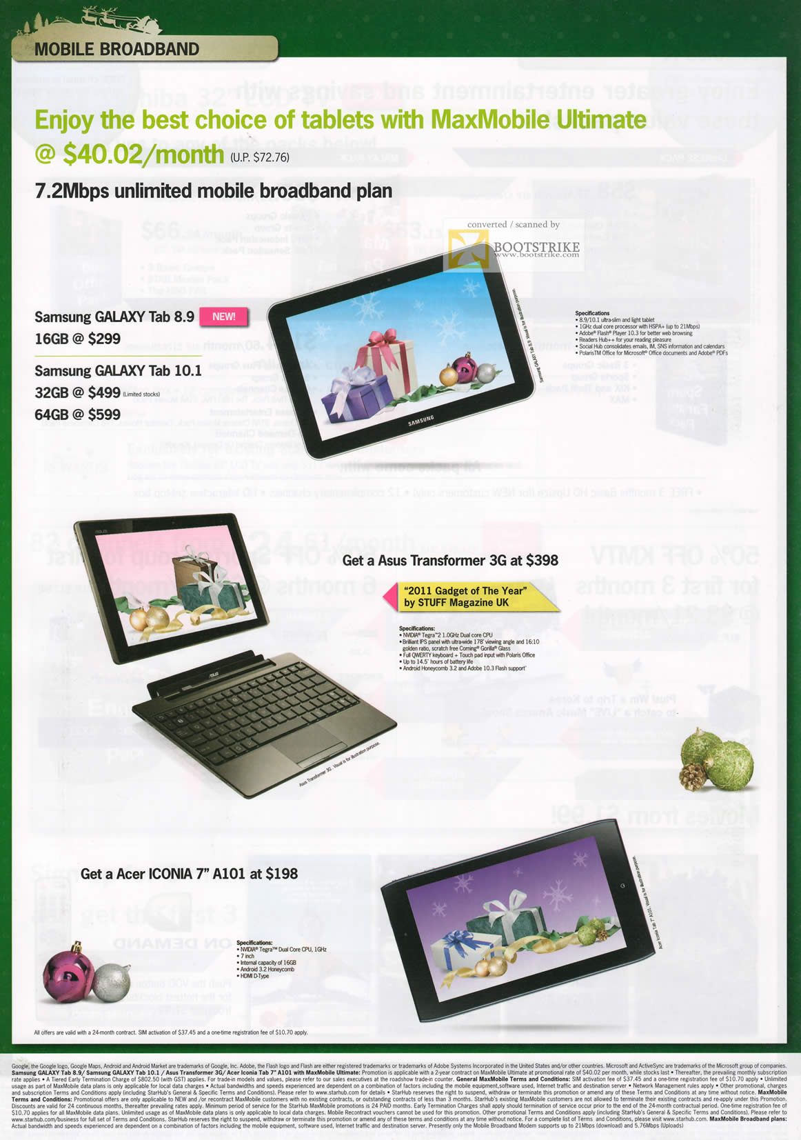 SITEX 2011 price list image brochure of Starhub Mobile Broadband Tablet MaxMobile Ultimate, Samsung Galaxy Tab 8.9, ASUS Transformer 3G, Acer Iconia A101