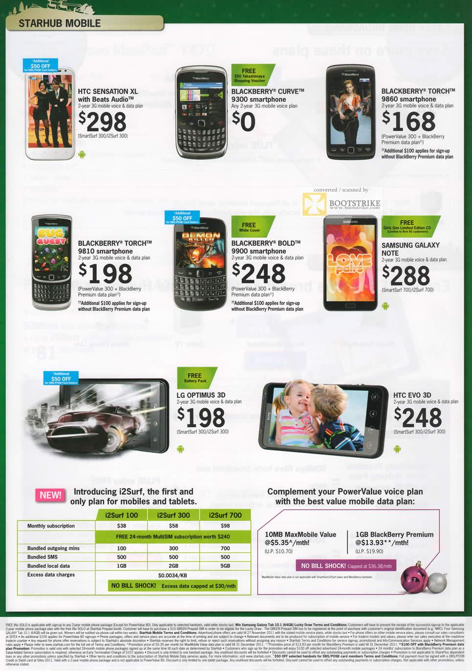 SITEX 2011 price list image brochure of Starhub Mobile HTC Sensation XL, Blackberry Curve 9300, Torch 9860, Torch 9810, Bold 9900, Samsung Galaxy Note, LG Optimus 3D, HTC Evo 3D, I2Surf Plan