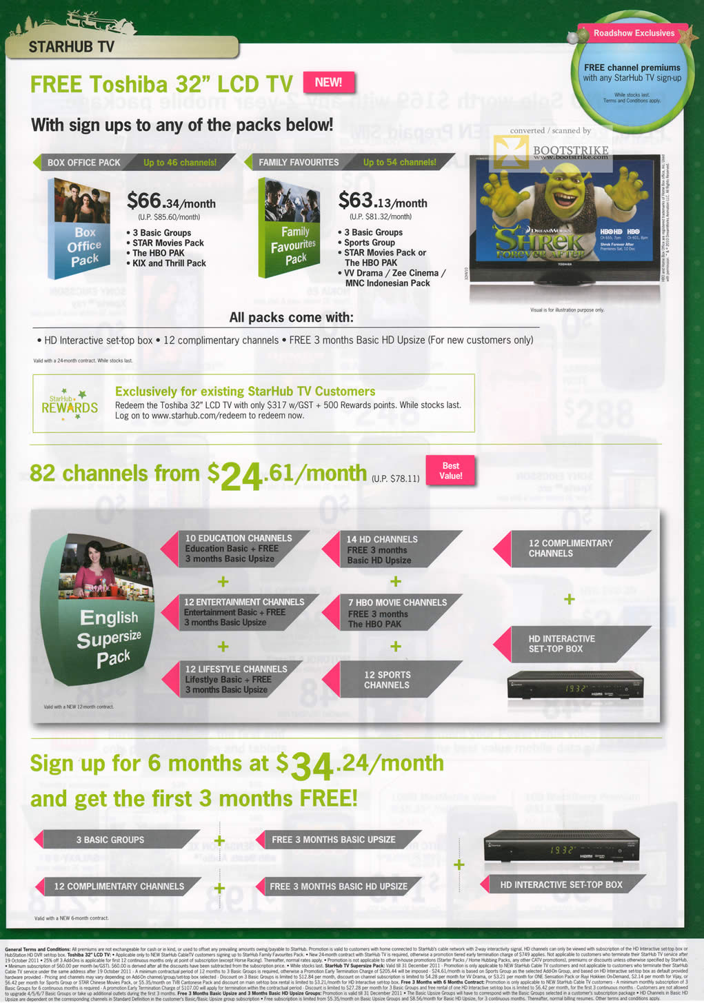 SITEX 2011 price list image brochure of Starhub TV Free Toshiba LCD TV, English Supersize Pack, Basic Upsize, Groups
