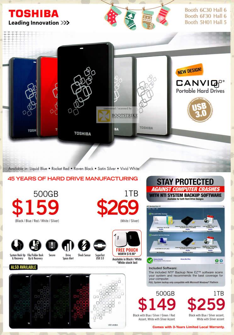 SITEX 2011 price list image brochure of Toshiba External Storage Canvio 500GB, 1TB