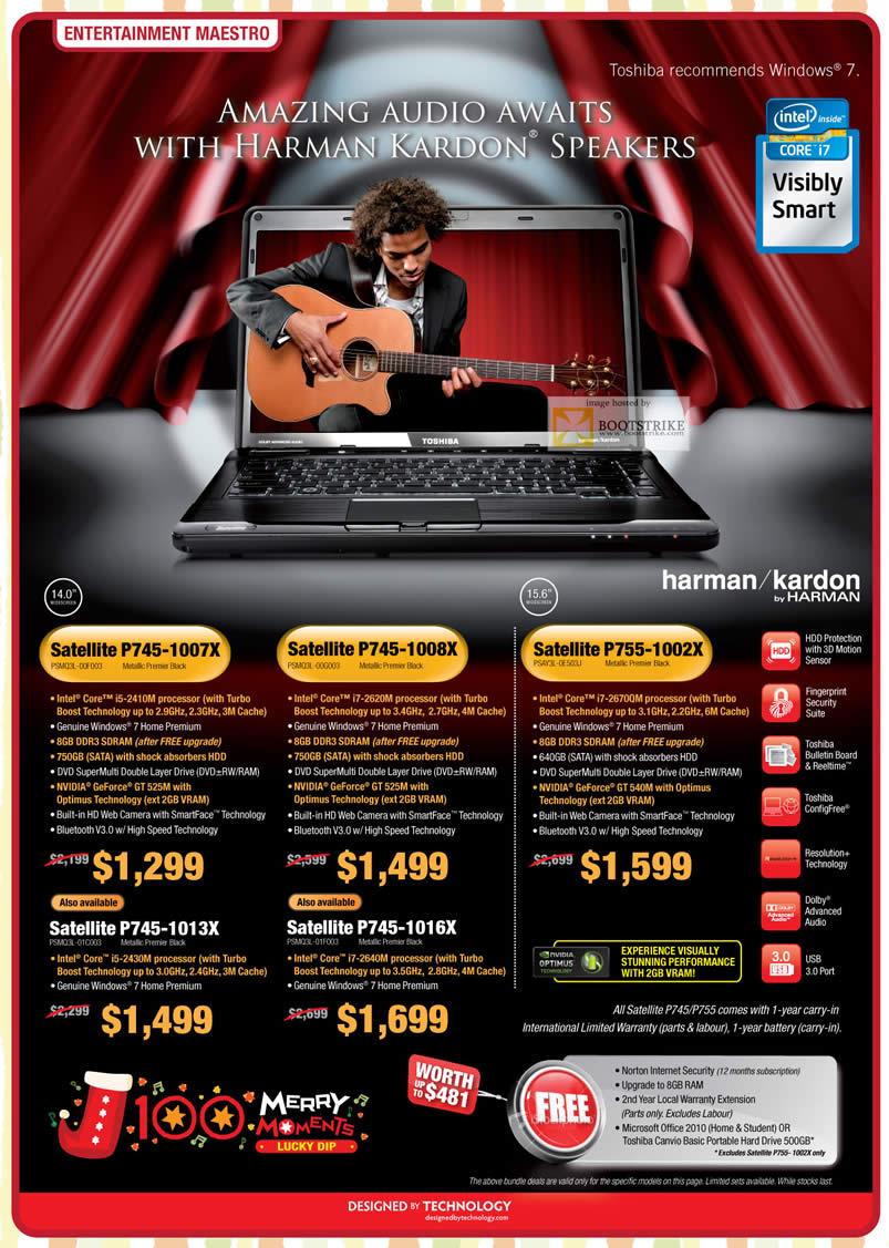 SITEX 2011 price list image brochure of Toshiba Notebooks Harman Kardon Satellte P745 1007X PSMQ3L 00F003 00G003 01C003 01F003, P755-1002X PSAY3L-OE503J