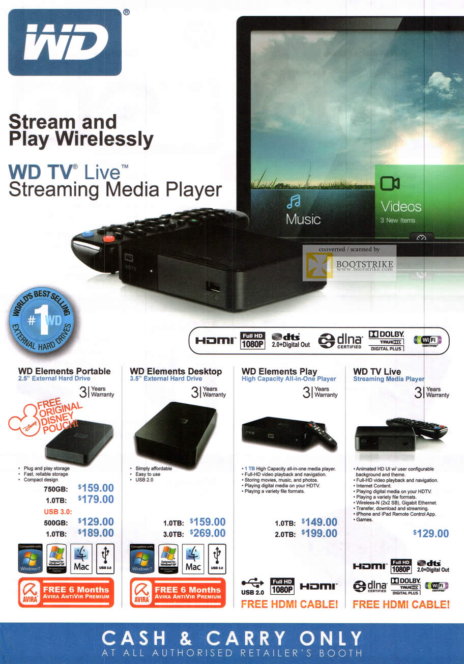 SITEX 2011 price list image brochure of Western Digital External Storage WD TV Live Streaming Media Player, Portable, Desktop, Play, TV Live