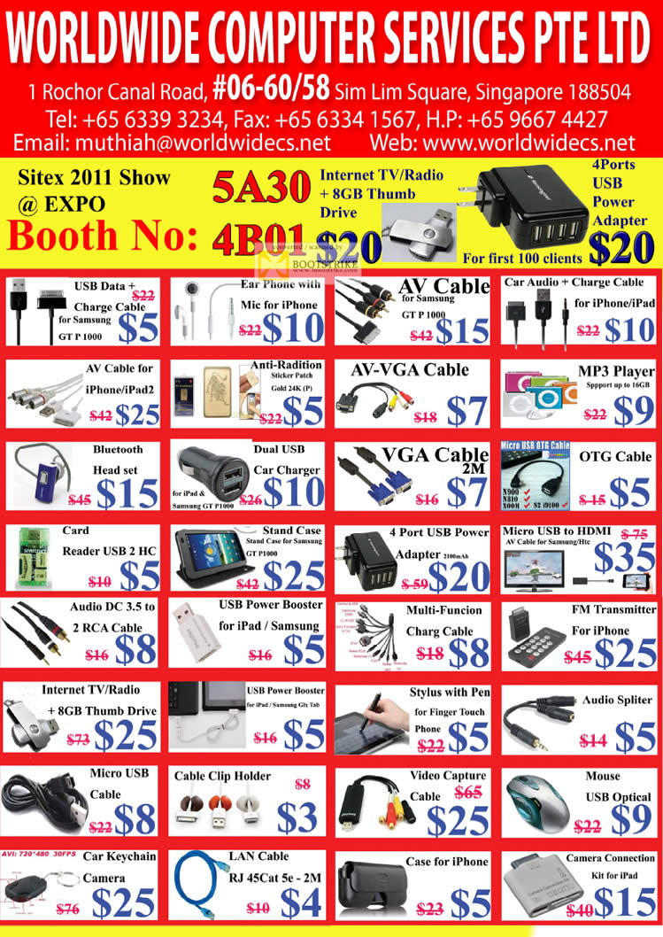 SITEX 2011 price list image brochure of Worldwide Computer Accessories AV Cable GT P 1000, VGA Cable, MP3 Player, Bluetooth Headset, LAN Cable RJ45 Cat 5e, IPhone Case, Mouse