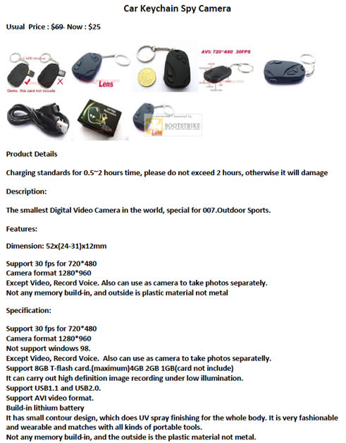SITEX 2011 price list image brochure of Worldwide Computer Car Key Chain Spy Camera