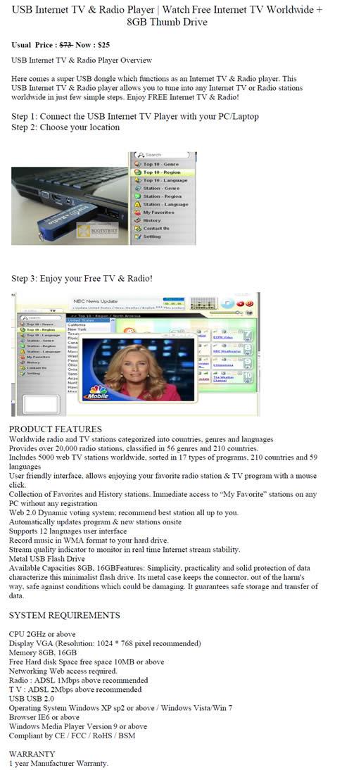 SITEX 2011 price list image brochure of Worldwide Computer USB Internet TV Radio Player