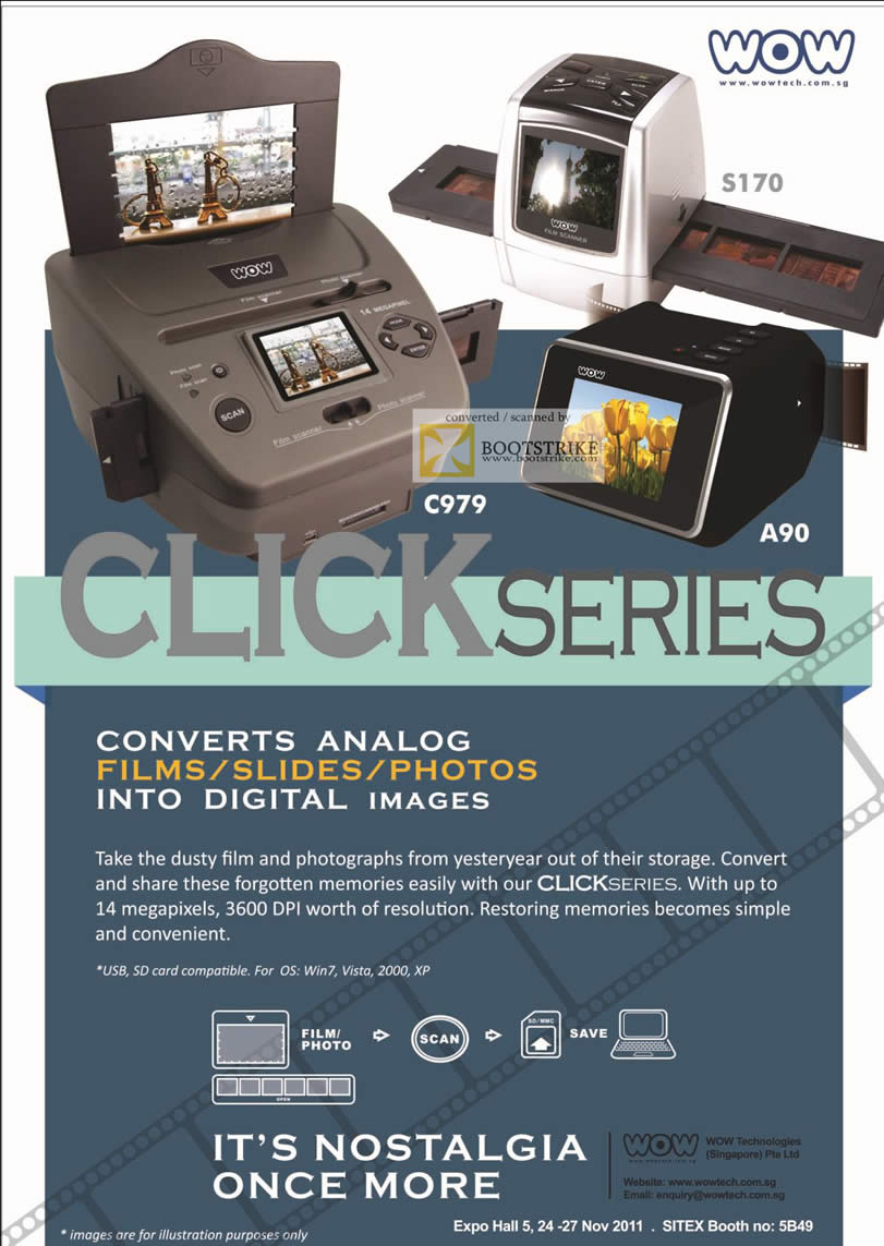 SITEX 2011 price list image brochure of Wow Tech Click Series Photo Film Scanner C979, A90, S170