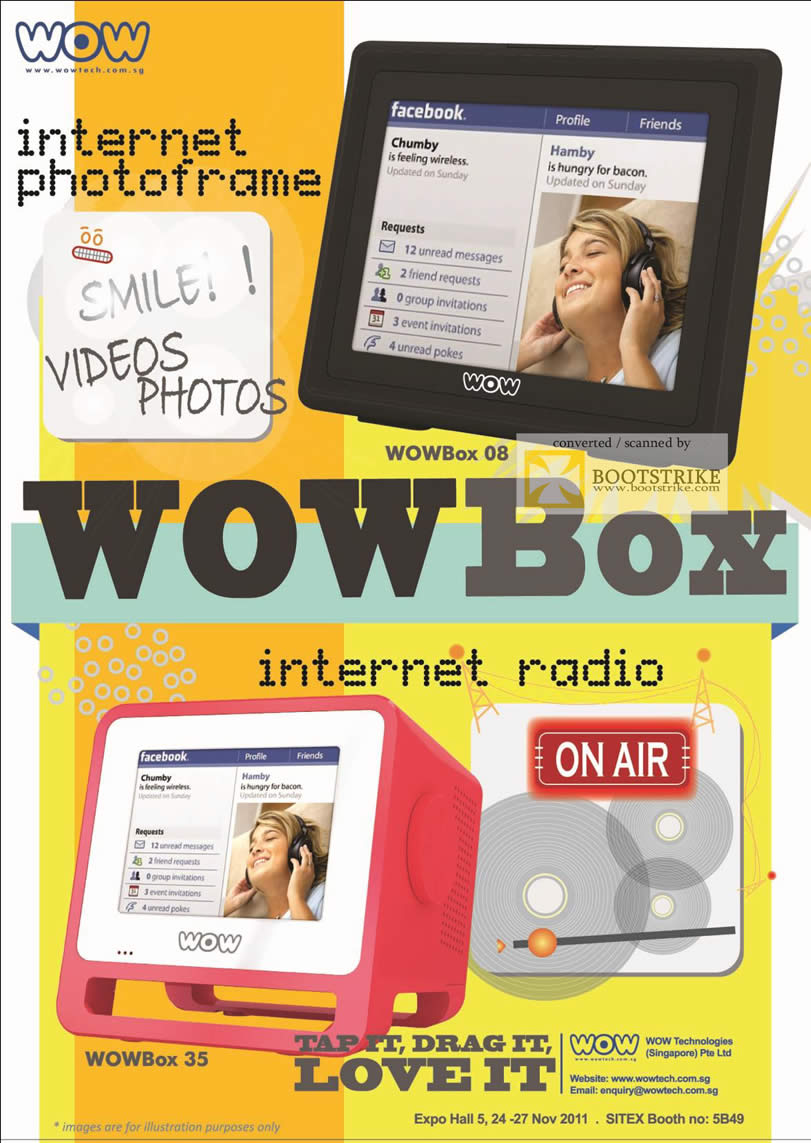 SITEX 2011 price list image brochure of Wow Tech Internet Digital Photo Frame WOWBox 08, Internet Radio WOWBox 35