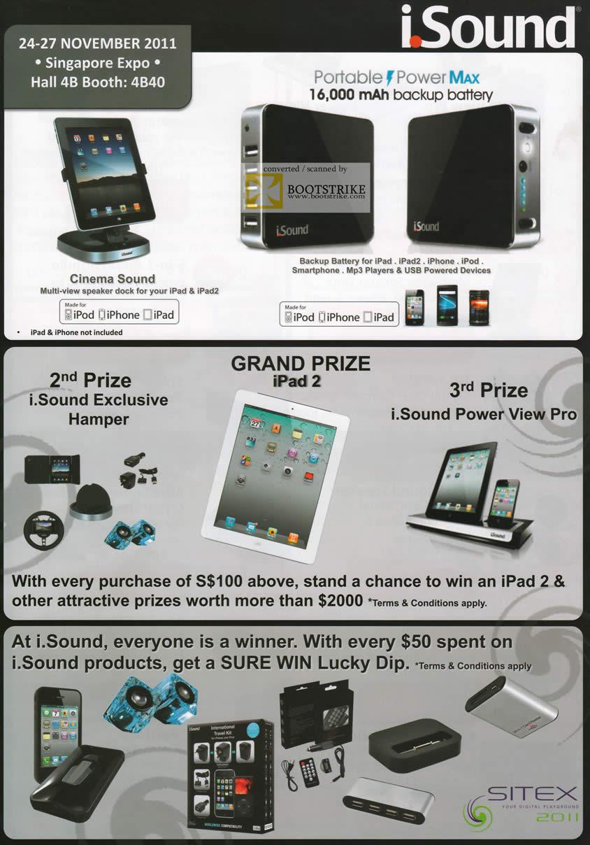 SITEX 2011 price list image brochure of ISound Portable Power Max Backup Battery IPad IPad 2 Portable Charger, Cinema Sound, Lucky Dip