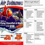Swimmers Flying Clownfish, Shark, Helium Locations