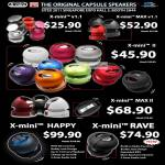 X-Mini Capsule Portable Speakers, X-Mini V1.1, Max V1.1, II, MAX II, Happy, Rave