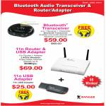 Bluetooth Transceiver, Router, Wireless USB Adapter