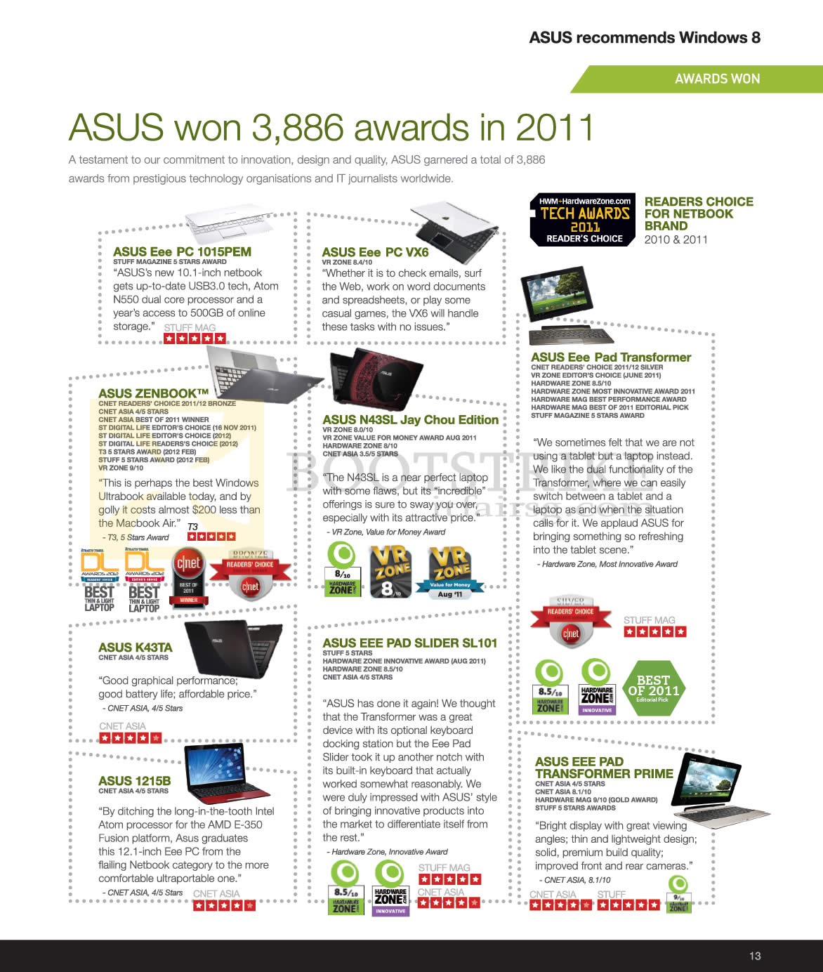 SITEX 2012 price list image brochure of ASUS Awards Won