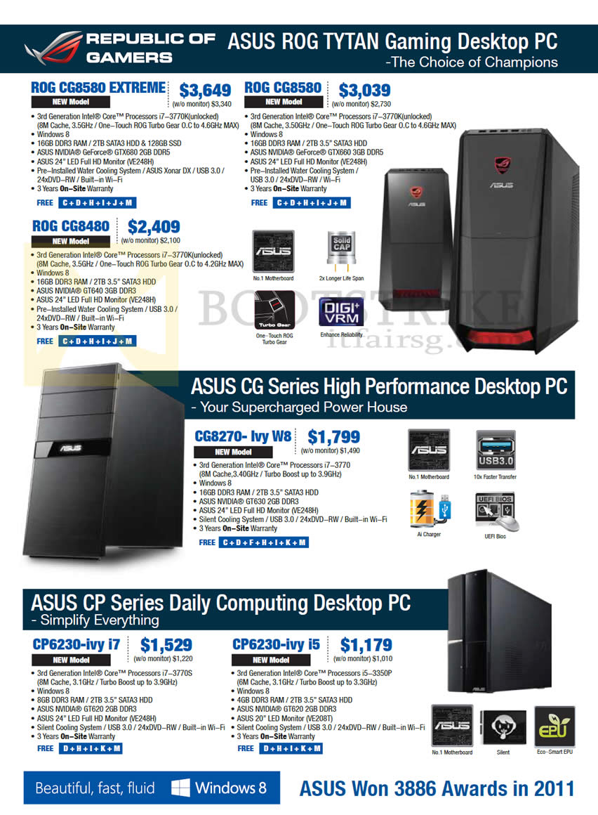 SITEX 2012 price list image brochure of ASUS Desktop PC CG8580 Extreme, CG8480, CG8270-ivy W8, CP6230-ivy, CP6230-ivy
