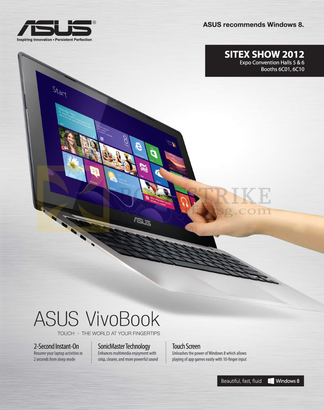 SITEX 2012 price list image brochure of ASUS Notebooks Vivobook Features