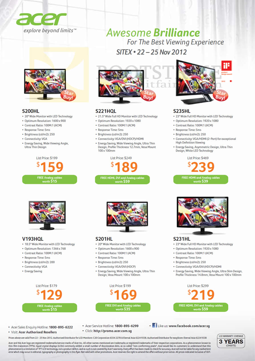 SITEX 2012 price list image brochure of Acer Monitors S200HL, S221HQL, S235HL, V193HQL, S201HL, S231HL