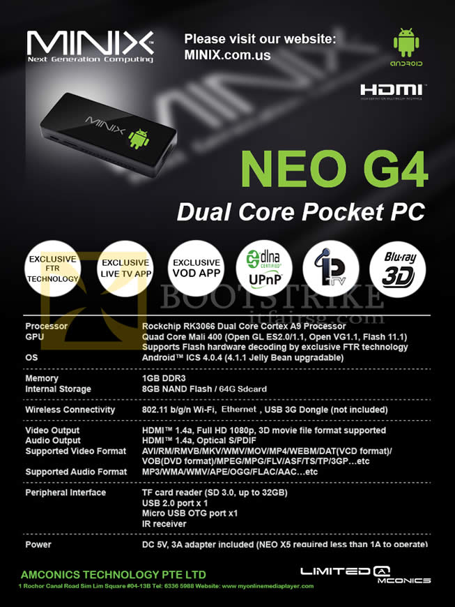 SITEX 2012 price list image brochure of Amconics MiniX Neo G4 Android Dual Core Pocket PC Specifications