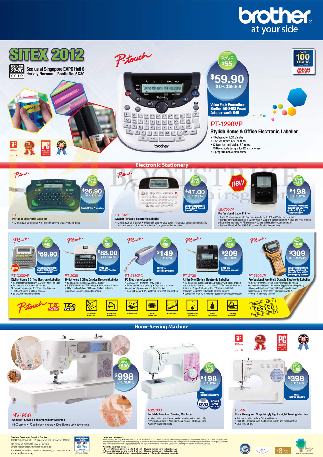 SITEX 2012 price list image brochure of Brother Labellers P-Touch PT-1290VP, PT-60, PT-90VP, QL-700VP, PT-D200VP, PT-2030, PT-2430PC, PT-2730, PT-7600VP, NV-950 Sewing Machine, AS2730S, DS-140