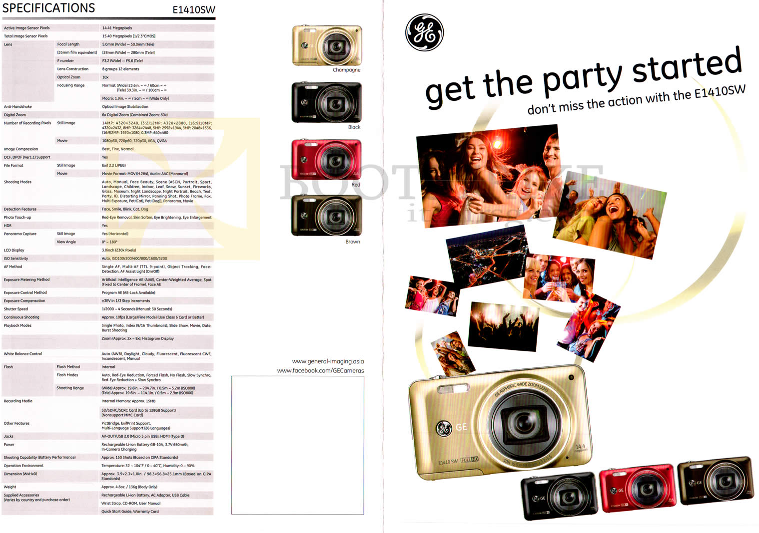 SITEX 2012 price list image brochure of C20 General Electric E1410SW Digital Camera Specifications