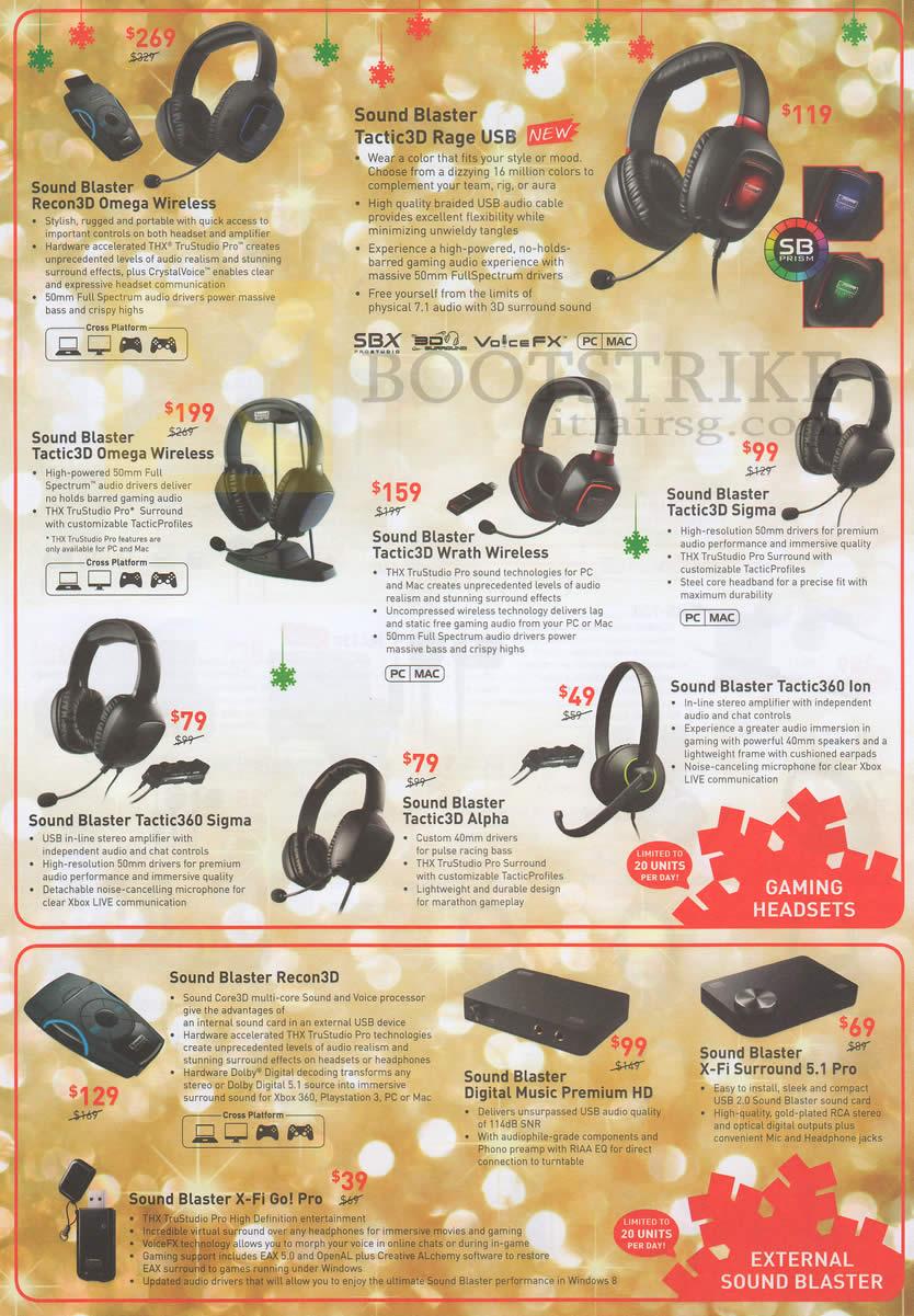 C2O Creative Headphones Recon3D Omega, Tactic3D Rage USB
