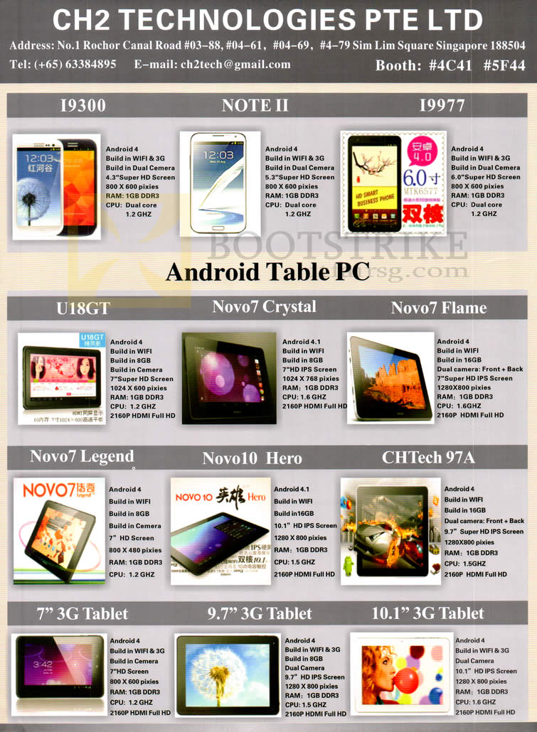 SITEX 2012 price list image brochure of CH2 Mobile Phones I9300, Note II, I9977, Tablets Novo, 3G, Chtech 97a