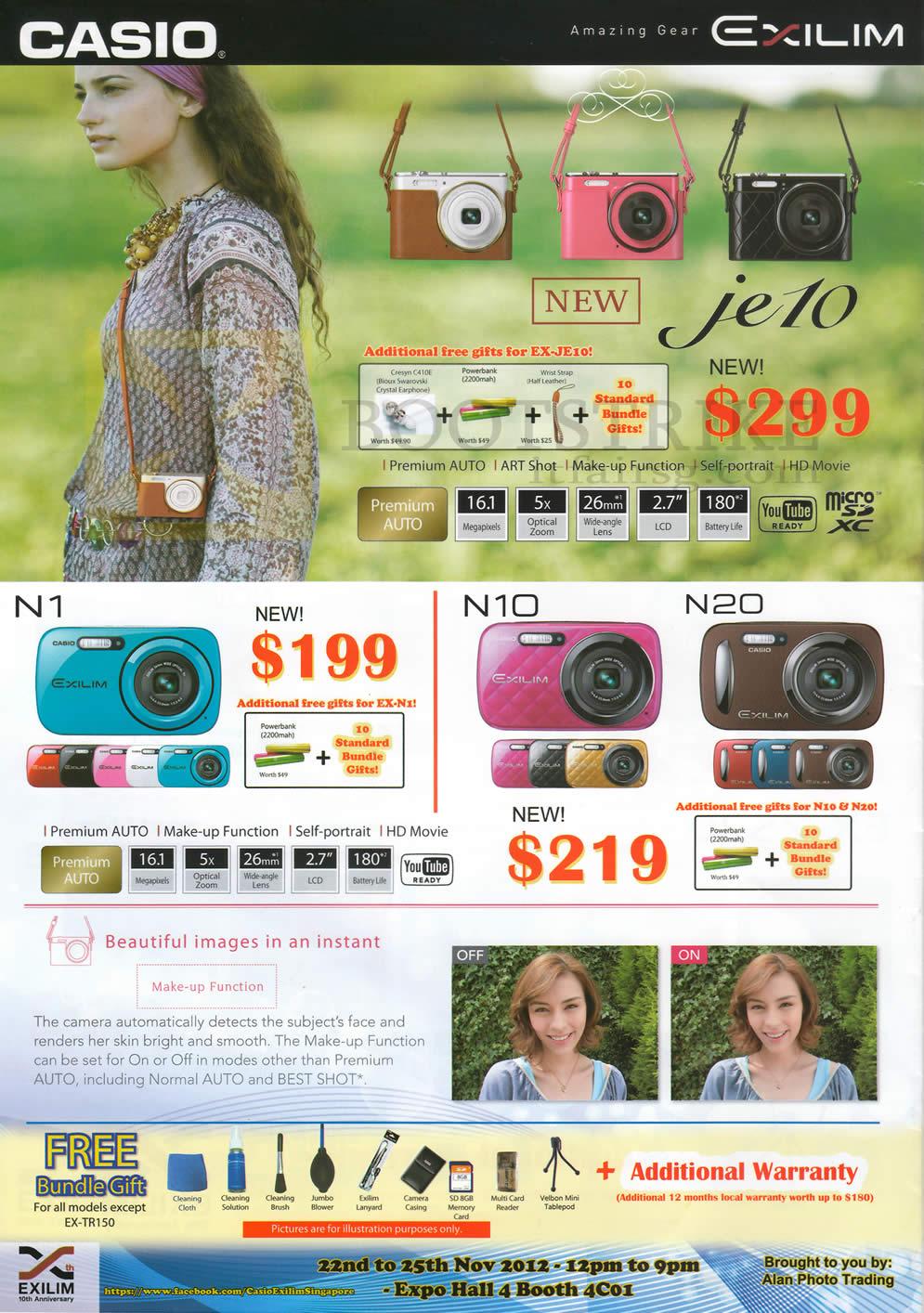 SITEX 2012 price list image brochure of Casio Digital Cameras JE10, N1, N10, N20