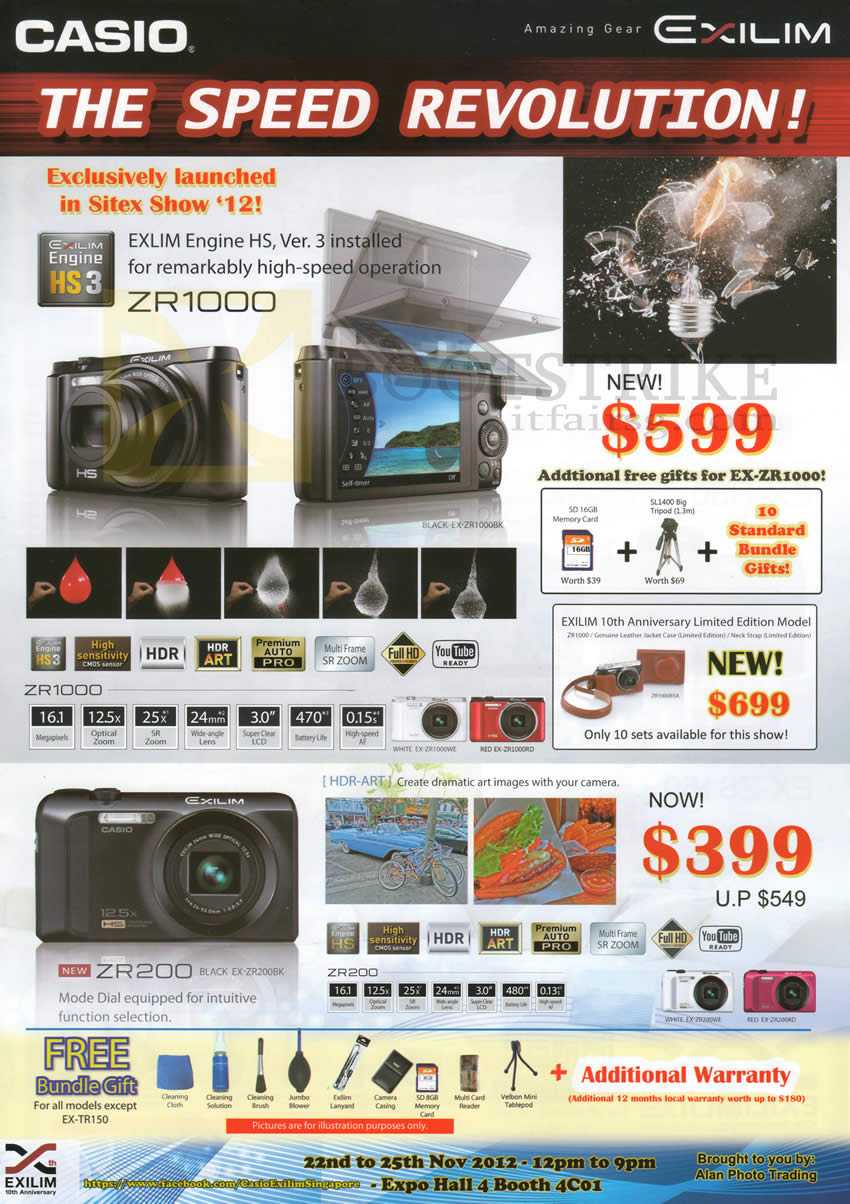 SITEX 2012 price list image brochure of Casio Digital Cameras ZR1000, ZR200