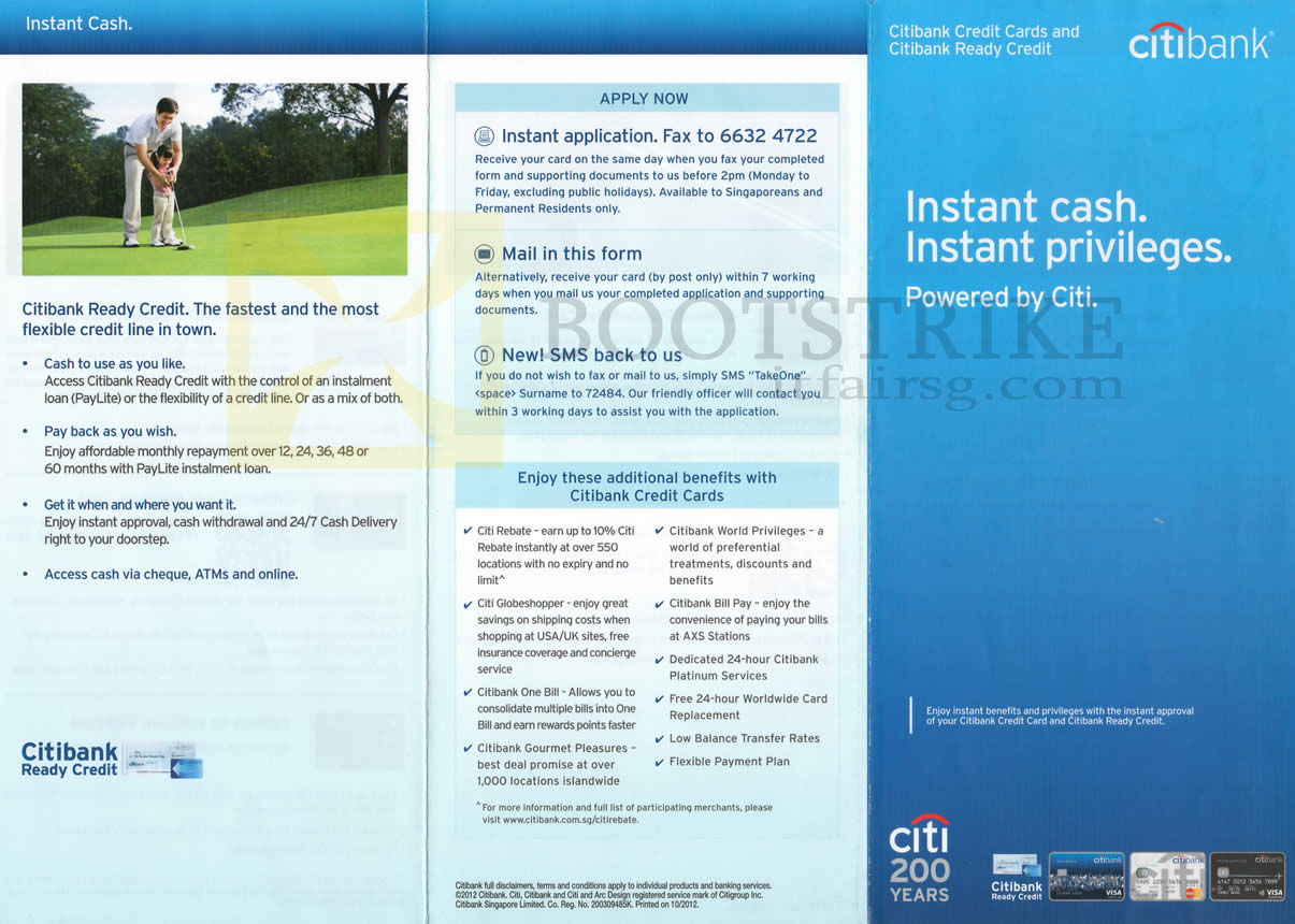 SITEX 2012 price list image brochure of Citibank Credit Cards Ready Credit Features, Benefits, Rebate, Globeshopper