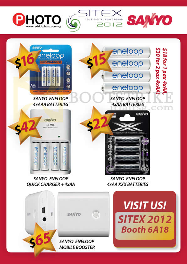 SITEX 2012 price list image brochure of Eastgear Red Dot Photo Sanyo Eneloop Batteries, Quick Charger, Mobile Booster, XXX