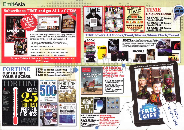 SITEX 2012 price list image brochure of EmitAsia Magazine Subscription Time, Fortune, Economist, Bloombery Businessweek