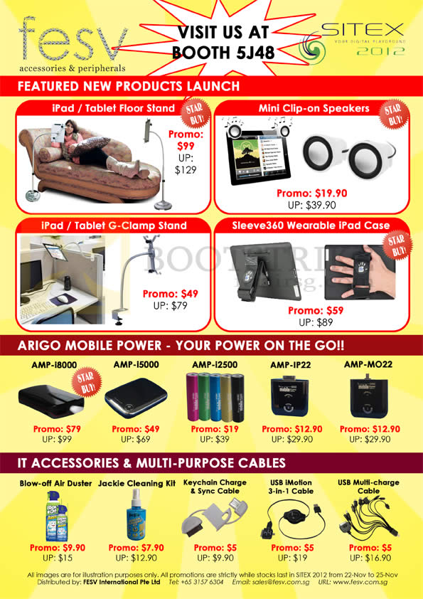 SITEX 2012 price list image brochure of Fesv IPad Tablet Floor Stand, G-Clamp, Speakers, Sleeve360 IPad Case, Arigo External Battery, Accessories