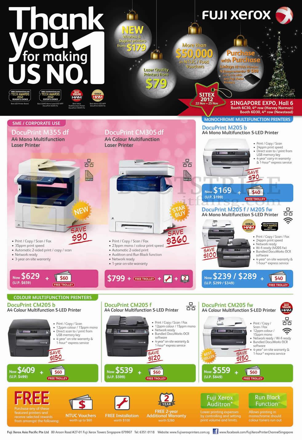 Fuji Xerox Laser Printers DocuPrint M355 Df, CM305 Df, M205 B, M205