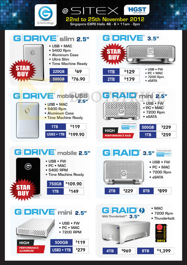 SITEX 2012 price list image brochure of G-Technology External Storage G Drive Slim, Mobile USB, Mini, Raid, Thunderbolt