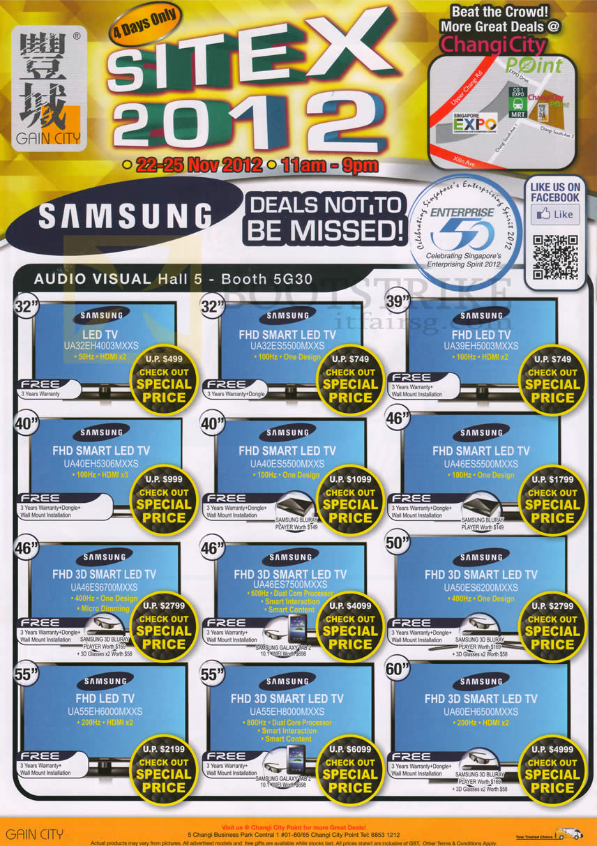 SITEX 2012 price list image brochure of Gain City TV Samsung LED TV