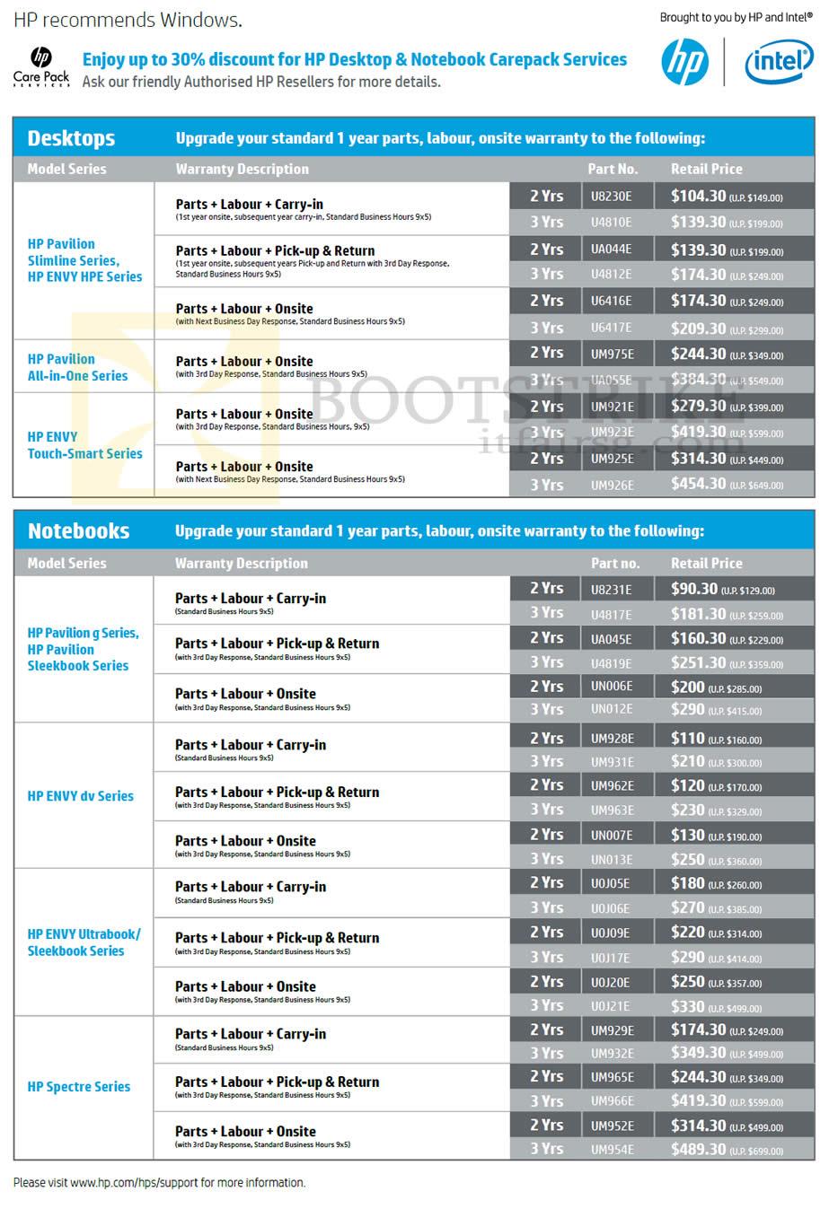 SITEX 2012 price list image brochure of HP Desktop Notebook Warranty Options