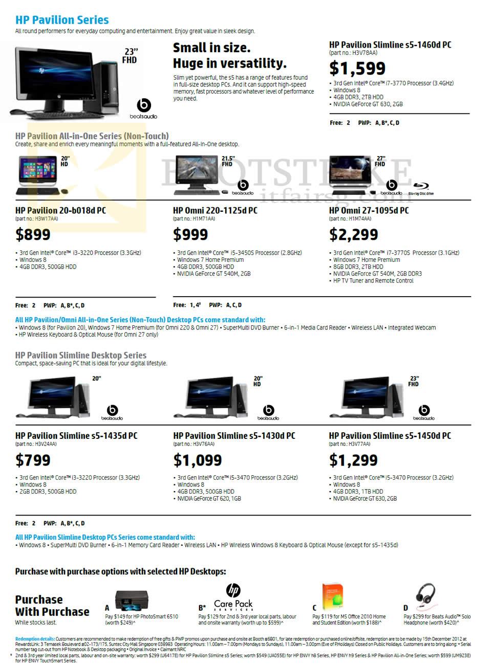 SITEX 2012 price list image brochure of HP Pavilion Desktop PCs, S5-1435d, S5-1430d, S5-1450d, AIO 20-b018d, Omni 220-1125d, 27-1095d