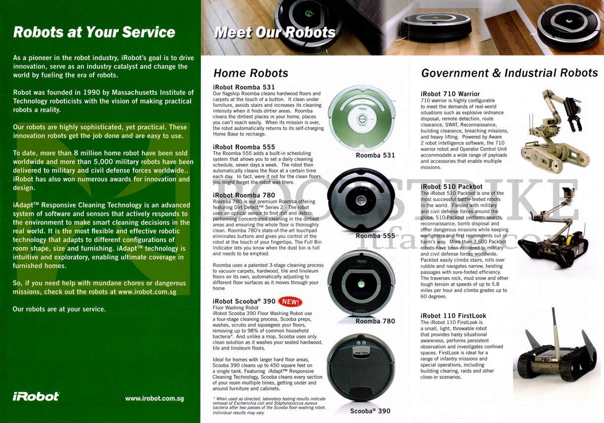 SITEX 2012 price list image brochure of John Ackerman IRobot Vacuum Cleaners Roomba 531 555 780, Scooba 390, 710 Warrior, 510 Packbot, 110 FirstLook