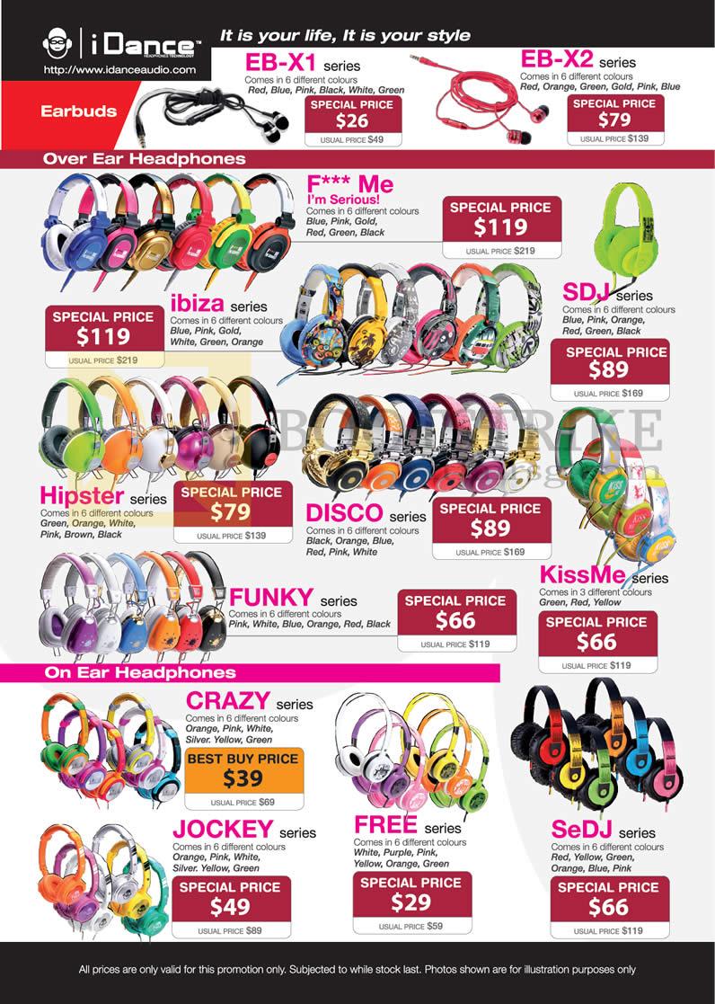SITEX 2012 price list image brochure of Lau Intl IDance Earphones EB-X1 EB-X2, Headphones Ibiza, SDJ, Hipster, Disco, Kissme, Funky, Crazy, Jockey, Free, SeDJ