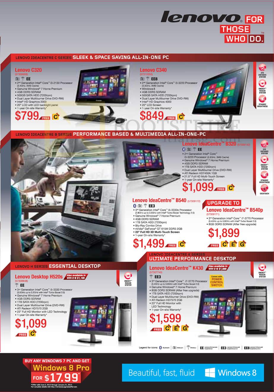 SITEX 2012 price list image brochure of Lenovo Desktop PCs AIO C320, C340, IdeaCentre B320, B540, H520s, K430