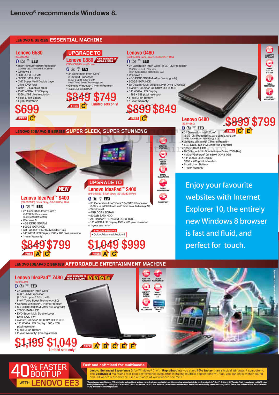 SITEX 2012 price list image brochure of Lenovo Notebooks G580, G480, IdeaPad S400, Z480