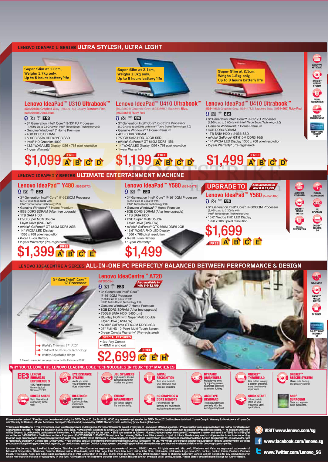SITEX 2012 price list image brochure of Lenovo Notebooks Ultrabooks IdeaPad U310, U410, Y480, Y580, IdeaAcentre A720