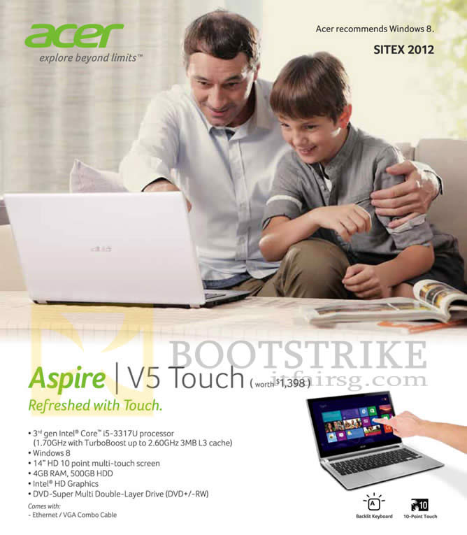 SITEX 2012 price list image brochure of M1 Acer Aspire V5 Touch Notebook Specifications