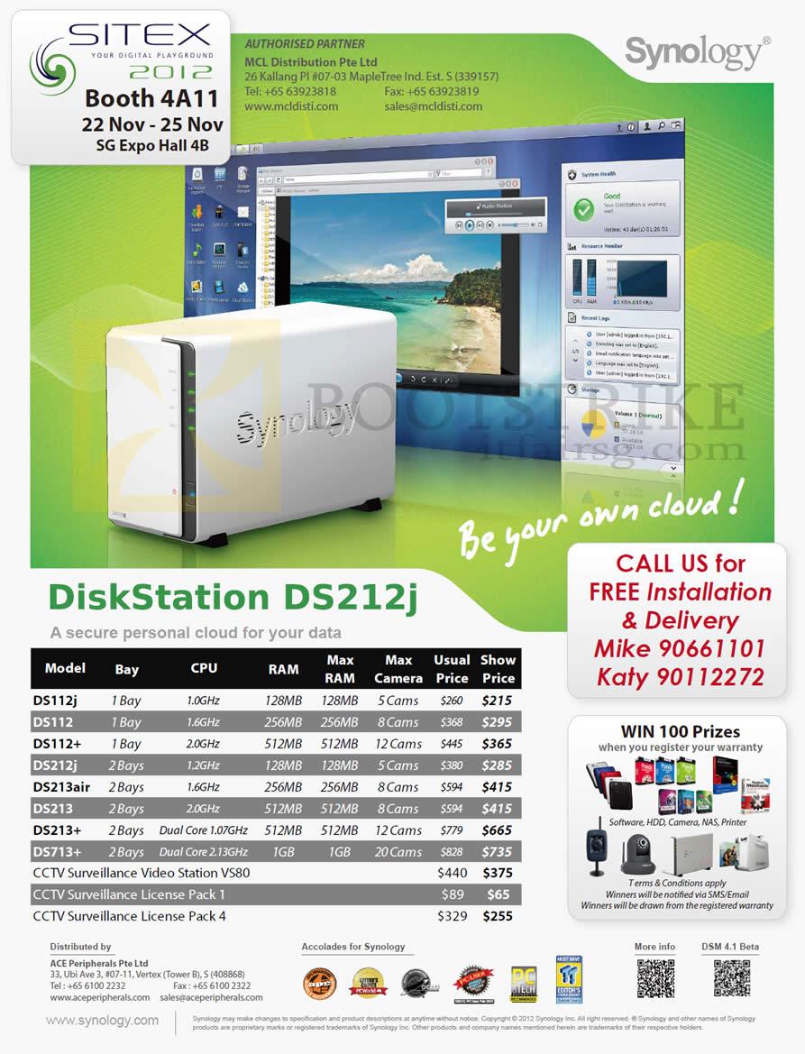 SITEX 2012 price list image brochure of MCL Distribution Ace NAS Synology DiskStation DS112J, DS112, DS112 Plus, DS213 DS213 Plus, DS713 Plus