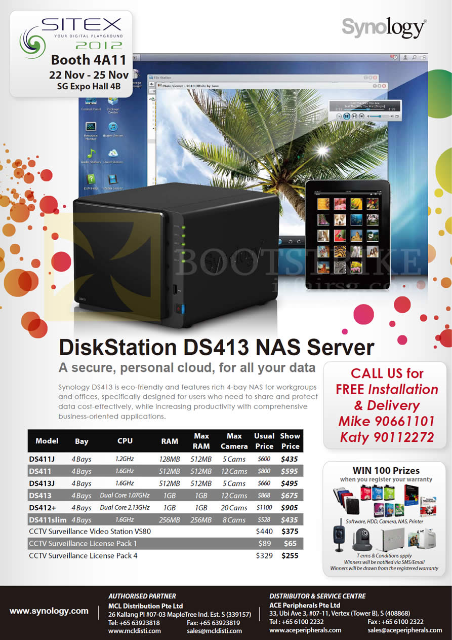 SITEX 2012 price list image brochure of MCL Distribution Ace NAS Synology DiskStation DS411J, DS411, DS413, DS413J, DS411Slim