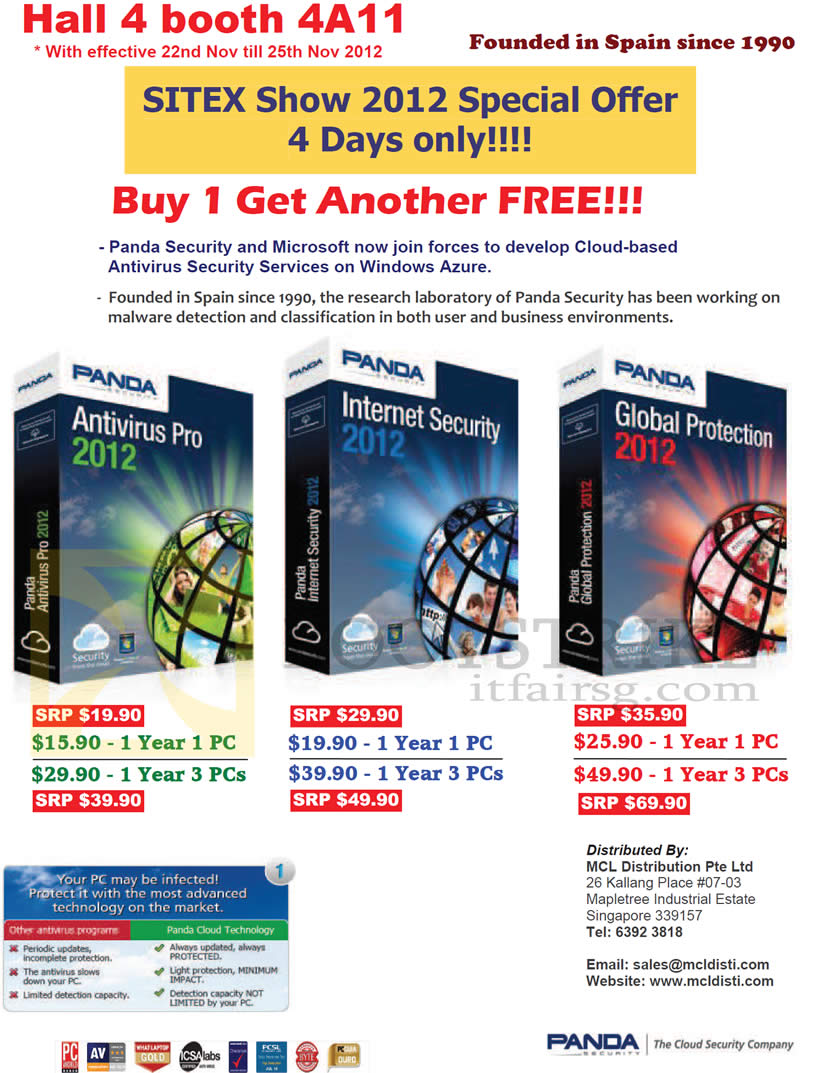 SITEX 2012 price list image brochure of MCL Distribution Panda Security Antivirus Pro, Internet Security 2013, Global Protection 2013