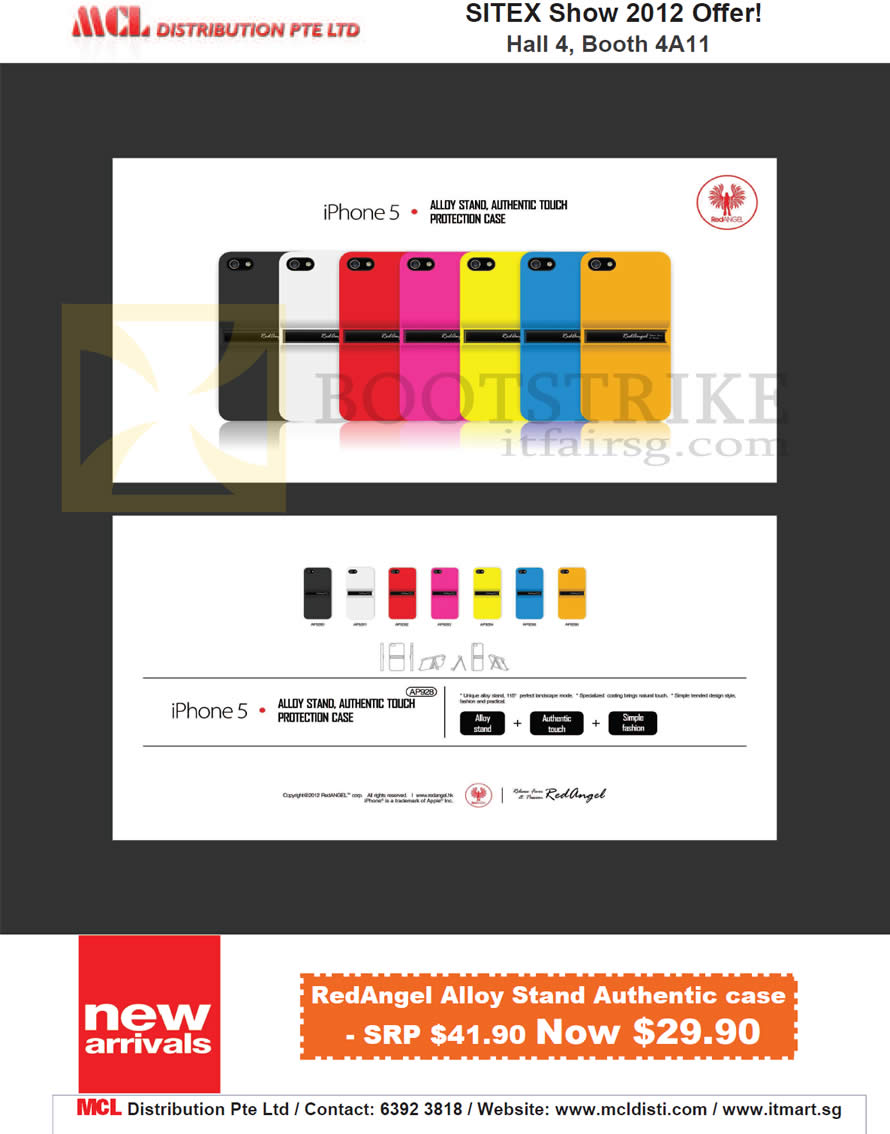 SITEX 2012 price list image brochure of MCL Distribution IPhone 5 Case, RedAngel Alloy Stand Case