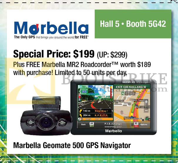 SITEX 2012 price list image brochure of Maka Marbella Coupon Free MR2 Roadcorder With Purchase