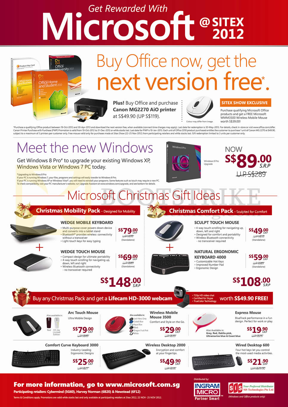 SITEX 2012 price list image brochure of Microsoft Office 2010 Home Student Business, Windows 8, Wedge Keyboard Mouse, Sculpt, Natural Ergonomic 4000, Arc Touch, Comfort Curve